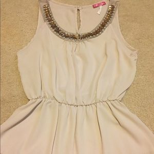 Body Central Nude Jeweled Collar Blouse